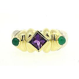David Yurman Renaissance 925 Sterling Silver & 14K Yellow Gold Amethyst & Green Onyx Ring Size 5.5