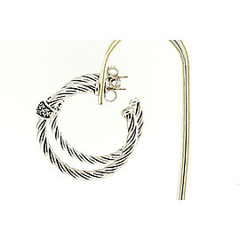 David Yurman Cable Sterling Silver Diamond Earrings
