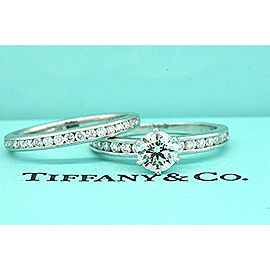 Tiffany & Co. Platinum Diamond Engagement Ring Wedding Band Set .67 Round sz 6.5