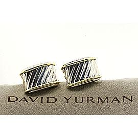 David Yurman Cigar Band Cable Cufflinks Sterling Silver 14k Yellow Gold