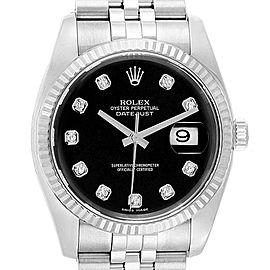 Rolex Datejust Steel White Gold Black Diamond Dial Mens Watch 116234