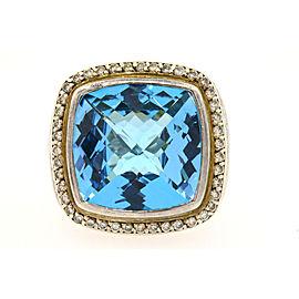 David Yurman Albion Sterling Silver Topaz, Diamond Ring Size 5.75