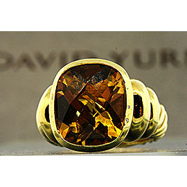 David Yurman Noblesse 18K Yellow Gold Citrine Ring Size 6