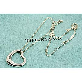"""Tiffany & Co. Elsa Peretti Open Heart Pendant Necklace Sterling Silver 16"""""""
