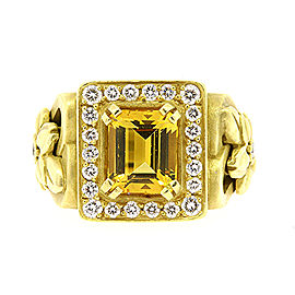 Kieselstein Cord 18k Yellow Gold Citrine Diamond Ring Flower Emerald Cut sz 8.5
