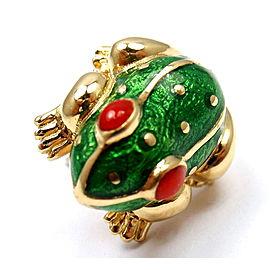David Webb 18K Yellow Gold Enamel Lucky Frog Pin Tie Tack