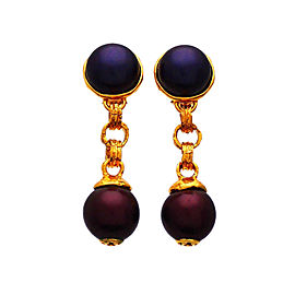 Chanel Gold Tone Glass Simulated Pearl Vintage Earrings