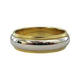 Tiffany & Co. Milgrain Wedding Band 18K Yellow Gold Platinum Size 8.5