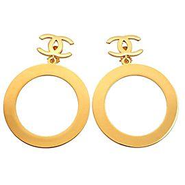 Chanel CC Gold Tone Hoop Earrings