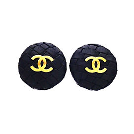 Chanel CC Gold Tone Leather Vintage Earrings