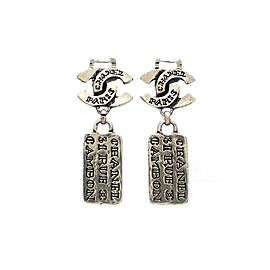 Chanel CC Silver Tone Earrings