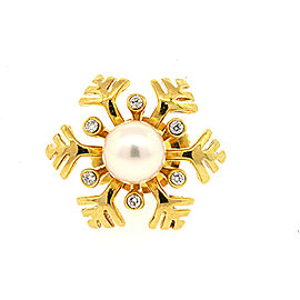 Mikimoto Snowflake 18K Yellow Gold Cultured Pearl, Diamond Brooch
