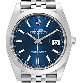 Rolex Datejust 41 Blue Dial Stainless Steel Mens Watch 126300 Box Card