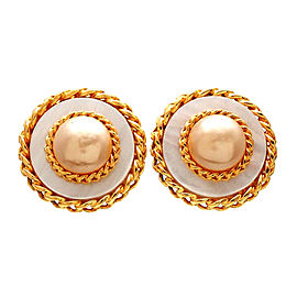 Chanel Gold Tone Simulated Pearl Vintage Earrings