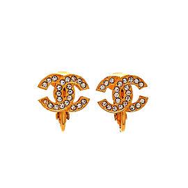Chanel CC Gold Tone Rhinestone Vintage Earrings