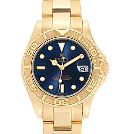 Rolex Yachtmaster Midsize 18K Yellow Gold Blue Dial Unisex Watch 68628