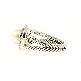 David Yurman Sterling Silver Cultured Pearl, Diamond Ring Size 7.25