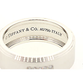 Tiffany & Co. Century 18k White Gold 10 Diamond Wide Band Ring sz 8.5