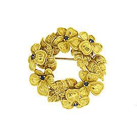 "Tiffany & Co. Flower Wreath Pin Brooch 18k Gold Sapphire Large 1.5"" 21.1g"