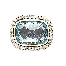David Yurman Noblesse Sterling Silver Diamond, Topaz Ring Size 5.75
