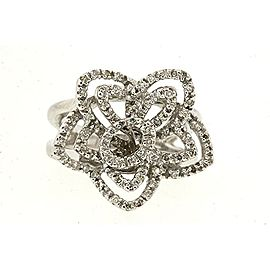 Sonia B. Bitton Diamond Ring Filigree 14K White Gold Flower Floral Star sz 6