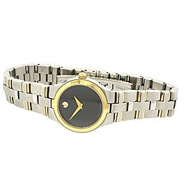 Movado Juro Ladies Watch SS Stainless Steel Gold Plate 0605031 Two Tone