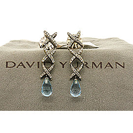 David Yurman Sterling Silver Diamond, Topaz Earrings