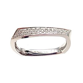 Tiffany & Co. Frank Gehry 18K White Gold 0.17ctw Diamond Torque Ring Size 11