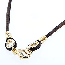 Bulgari 18K Yellow Gold Leather Choker Necklace