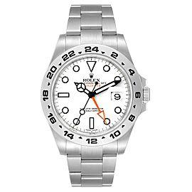 Rolex Explorer II 42 White Dial Orange Hand Steel Mens Watch 216570 Box Papers