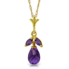 1.7 CTW 14K Solid Gold Ease Into Love Amethyst Necklace