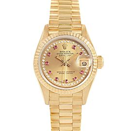 Rolex President Yellow Gold String Diamond Rubies Ladies Watch 69158