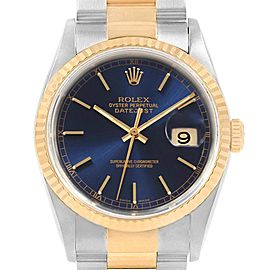 Rolex Datejust 36 Steel Yellow Gold Blue Dial Mens Watch 16233