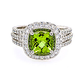 Jack Kelege KGR 1025 18k White Gold Peridot, Diamonds Ring