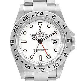 Rolex Explorer II White Dial Red Hand Mens Watch 16570 Box