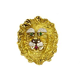 Hammerman Brothers Lion Pin Brooch 18k Yellow Gold Diamonds Ruby Emerald