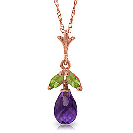 14K Solid Rose Gold Necklace with Purple Amethyst & Peridots