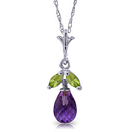 1.7 CTW 14K Solid White Gold Show Cheerfulness Amethyst Peridot Necklace