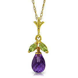 1.7 CTW 14K Solid Gold Education Of Love Peridot Necklace
