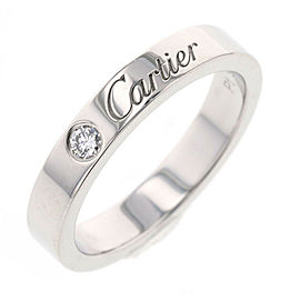 CARTIER Platinum 1P 3mm Diamond Ring Size 3.75