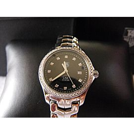 TAG HEUER WOMENS LINK WJF131A.BA0572 DIAMOND BEZEL BLACK QUARTZ WATCH