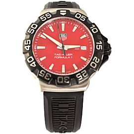 TAG HEUER FORMULA 1 WAH1112.BT0714 BLACK RUBBER SWISS RED QUARTZ WATCH