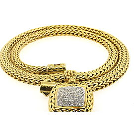 John Hardy 18k .85ct Diamond Pendant Square Classic Chain Necklace