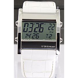 TAG HEUER MICROTIMER CS111G.FC6199 DIGITAL WHITE LEATHER SWISS WATCH