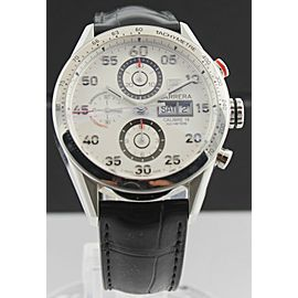 AUTHENTIC TAG HEUER CARRERA CV2A11.FC6235 CHRONOGRAPH LEATHER DAY DATE WATCH