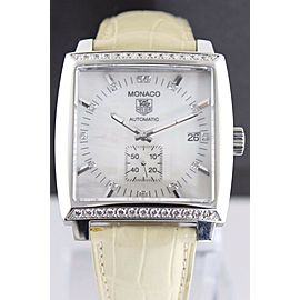 TAG HEUER MONACO WW2114.FC6215 AUTOMATIC LEATHER DIAMOND MIDSIZE WATCH