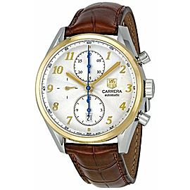 TAG HEUER CARRERA CAS2150.FC6291 CHRONOGRAPH 18K GOLD BROWN LEATHER WATCH