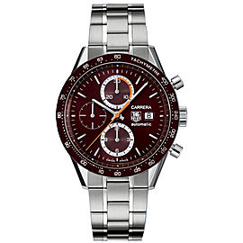 CHECK THIS OUT TAG HEUER CARRERA CV2013.BA0786 CHRONO AUTO STEEL BROWN WATCH