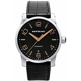 MONTBLANC MEN'S TIMEWALKER 101551 AUTOMATIC ROSE GOLD LEATHER WATCH