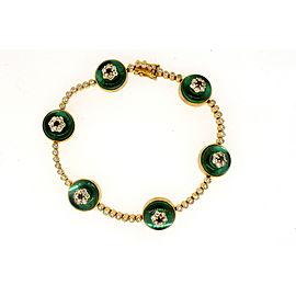 Evil Eye Diamond Bracelet Sapphire Green Crystal 18k Gold BA Designer 6 7/8""